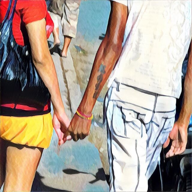 Cuba - strolling down the avenue. This was a grab shot. Scene just appeared ahead of me for a few secs, and I got lucky. Doctored up a little in the Prisma app. #cuba #loversandfriends #holdinghands