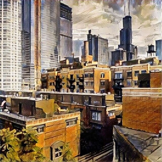 Chicago cityscape - from Julie and Gerard's balcony.  Experimenting here...along the porous border between photography and painting